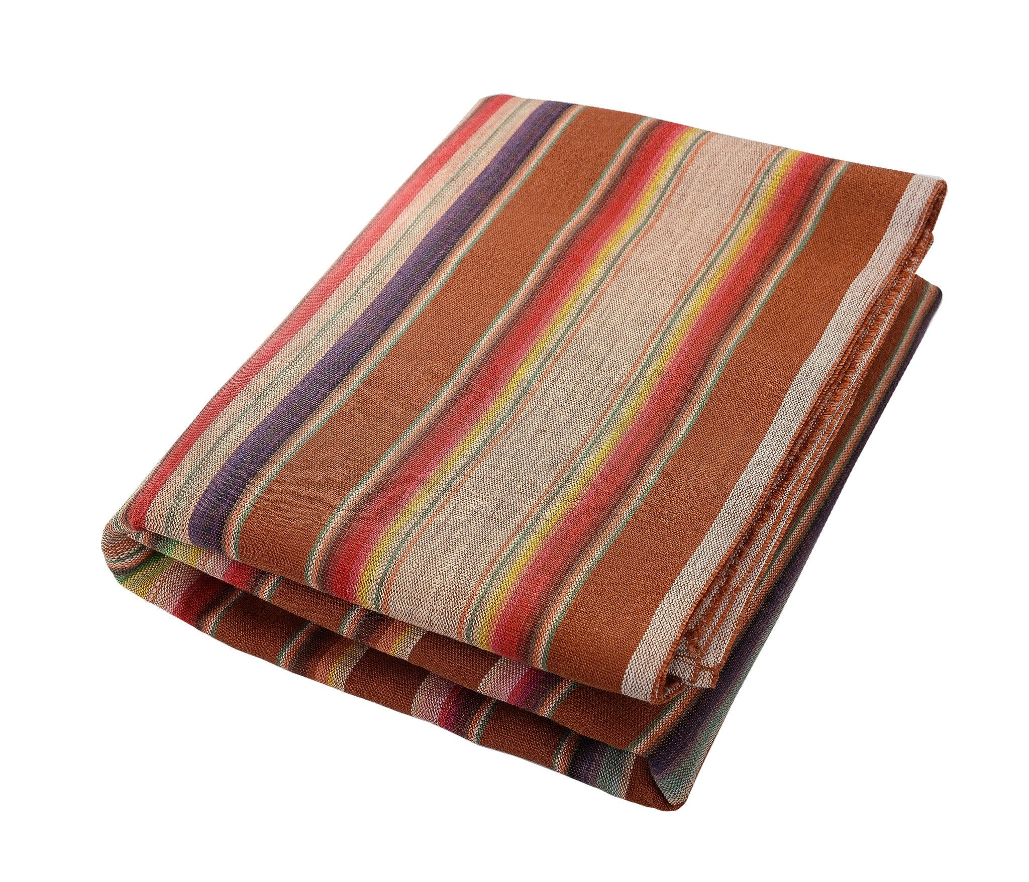 Theo:  Camel & Fourteen Multicolored Stripes, Linen Beach Towel - Deck Towel