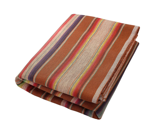 Theo:  Camel & Fourteen Multicolored Stripes, Beach Towel