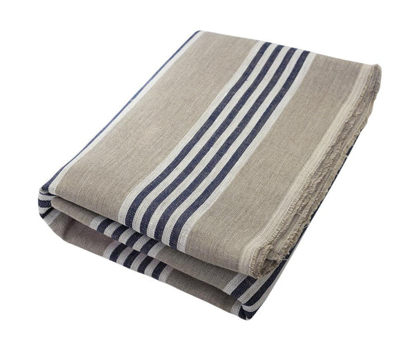 Mathieu; Oatmeal, White and Navy Blue Stripe, Linen Beach Towel - Deck Towel