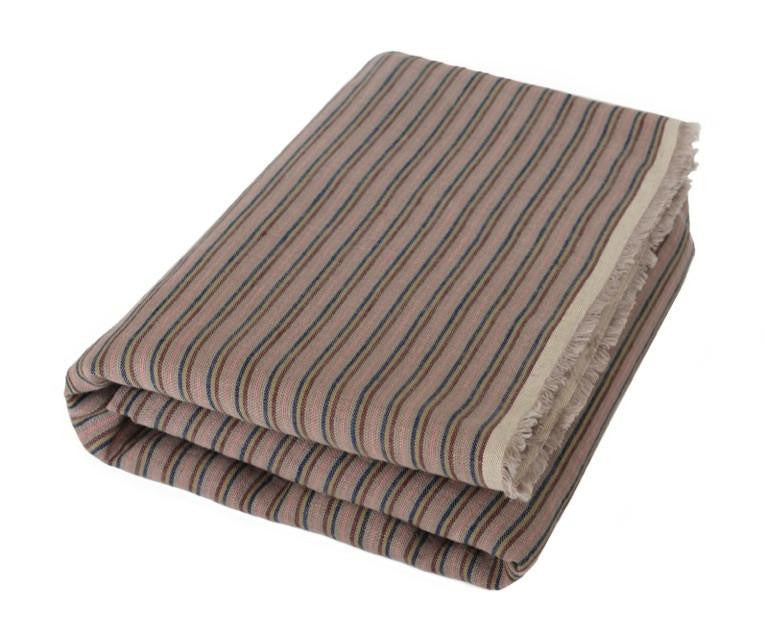 Enzo: Gray Linen Beach Towel With Simple Stripes - Deck Towel