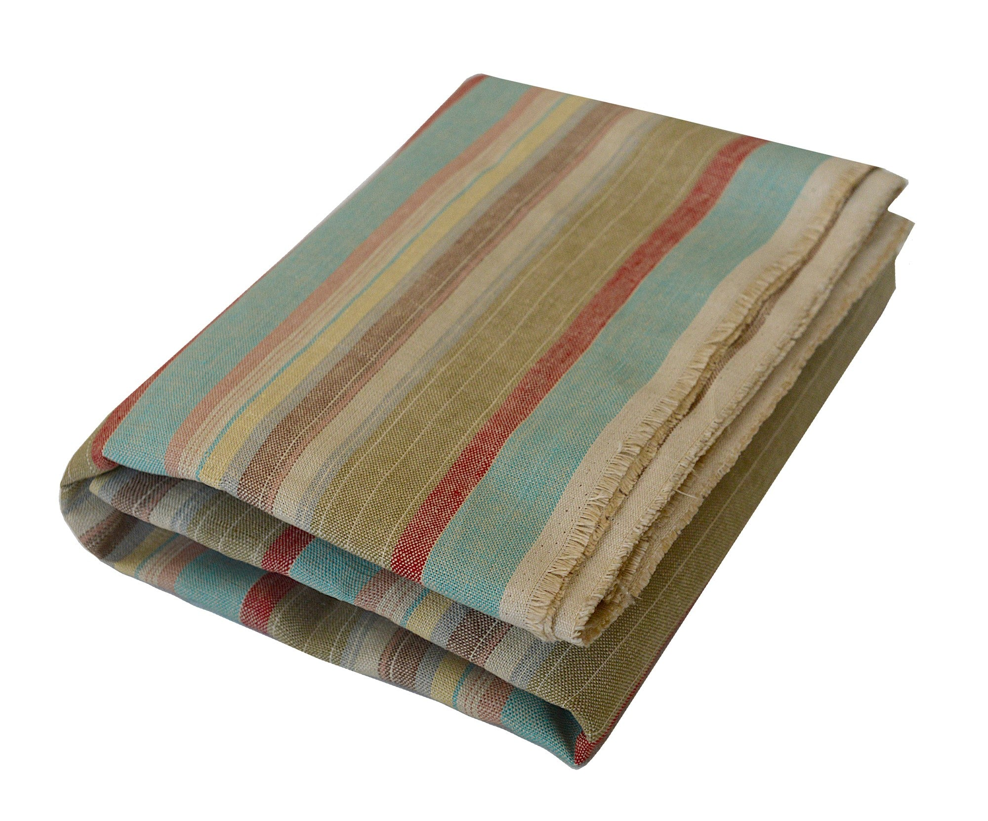 Linus; Brown,Tan, Red, Mint Green and Red Linen Beach Towel - Deck Towel