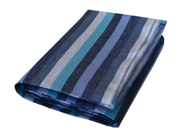Jarek Multi-toned Blue Linen Beach Towel - Deck Towel