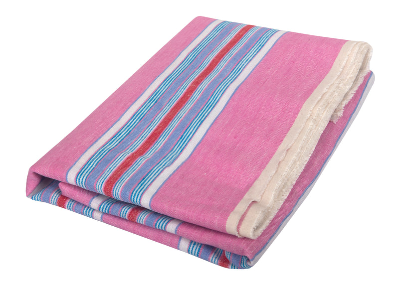 Ophelie Pink: Pink, Royal Blue, Mocha, Chocolate and Yellow Stripe Linen Beach Towel - Deck Towel