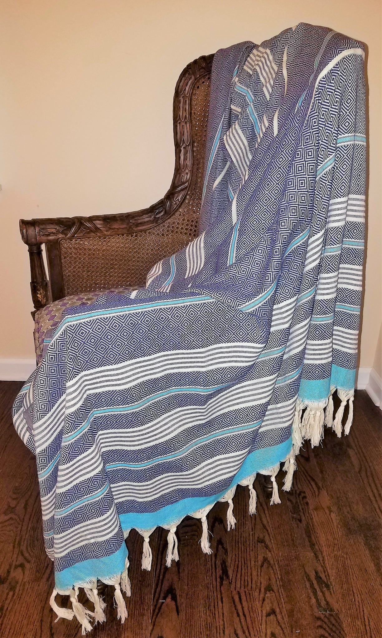 Ozgur Extra Large Peshtemal Diamond Blanket - Deck Towel