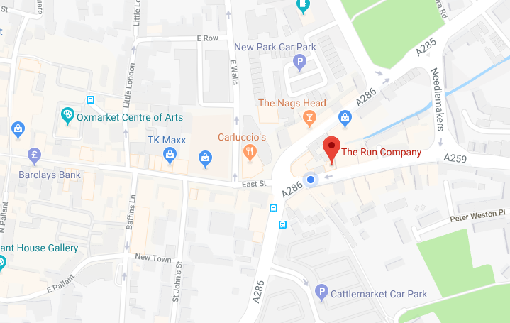 Map of The Run Company running store in Chichester