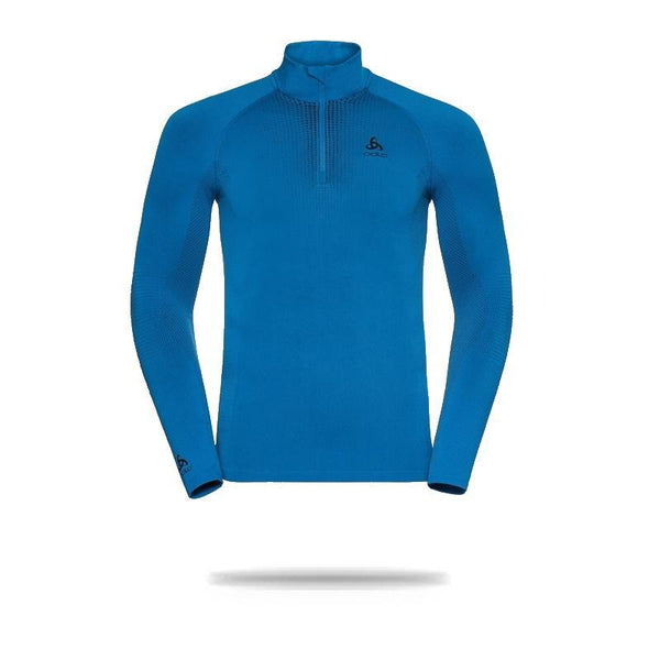 Odlo Men's Performance Warm  1/2 Zip Turtle-Neck Long-Sleeve Base Layer Top