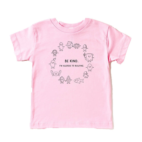 Anti-bullying light pink t-shirt with black graphic showing the top 8 allergens with the phrase
