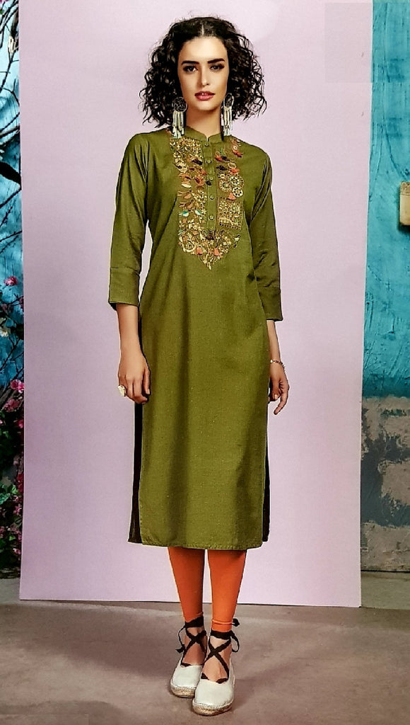 Embroidered Cotton Kurti - R00181 - ALL MY WISH