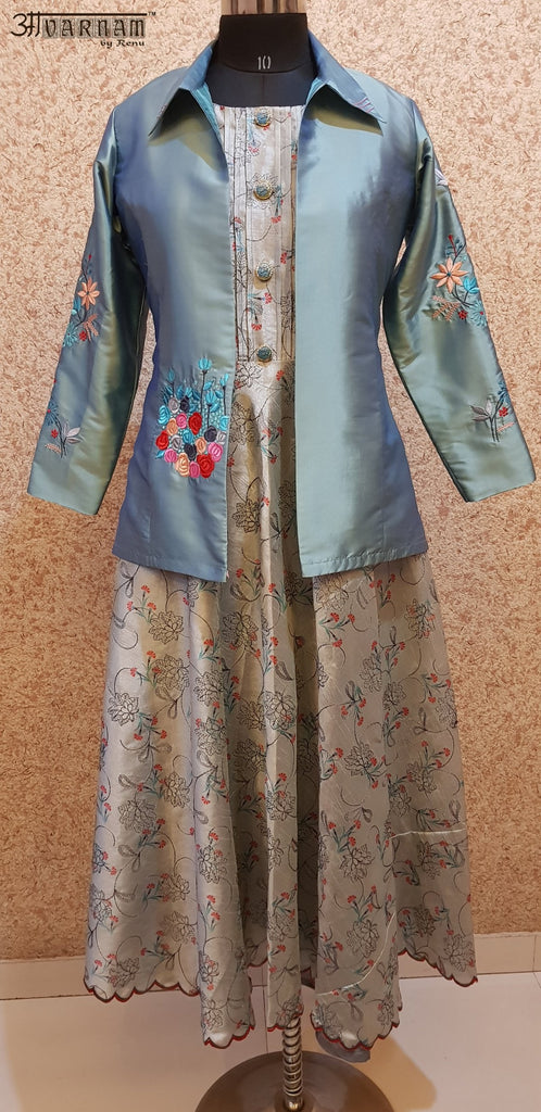 Aavarnam By Renu - Embroidered Flared Dress With Embroidered Jacket - 2864D00032 - ALL MY WISH