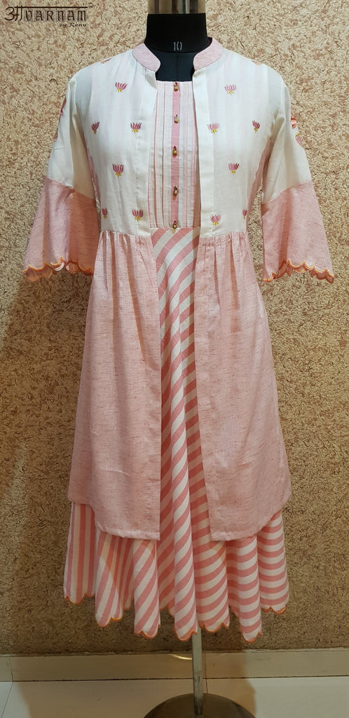 Aavarnam By Renu - Flared Stripes Cotton Dress With Embroidered Long Cape - 2003D00036 - ALL MY WISH