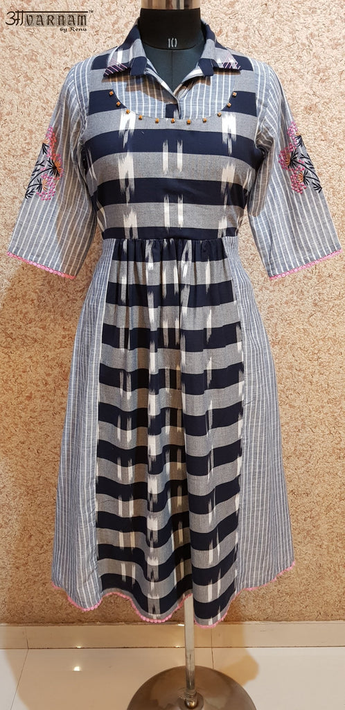 Aavarnam By Renu - Embroidered Stripes Cotton Dress - 2018D00039 - ALL MY WISH