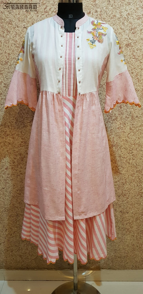 Aavarnam By Renu - Flared Cotton Stripes Dress With Long Embroidered Cape - 2003D00040 - ALL MY WISH