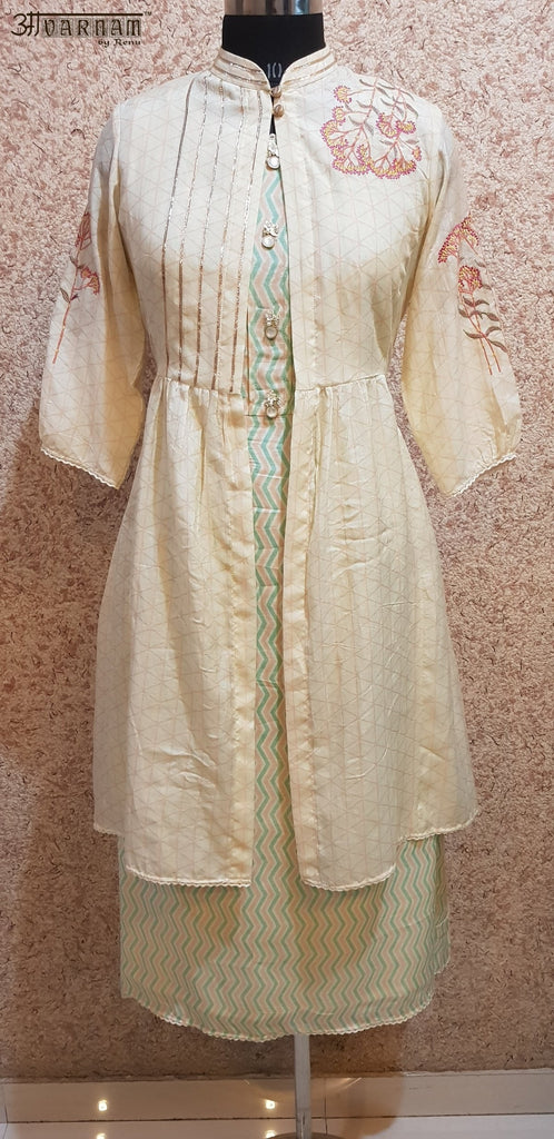 Aavarnam By Renu - Soft Maslin Flared Shirt With Embroidered Cape - 2008D00052 - ALL MY WISH