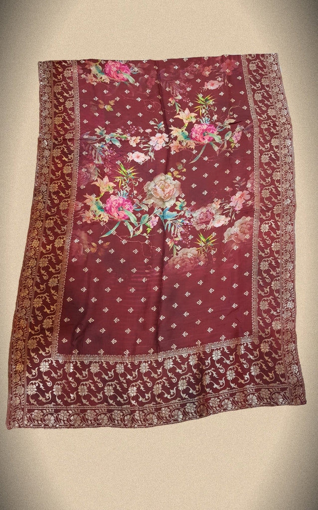 Floral Opara Soft Silk Brocade Banarasi Dupatta - DP00016 - ALL MY WISH