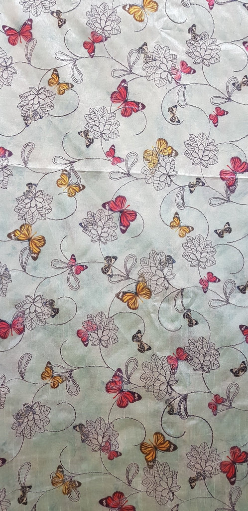 Embroidered Dupion Silk Fabric - F00119 - ALL MY WISH
