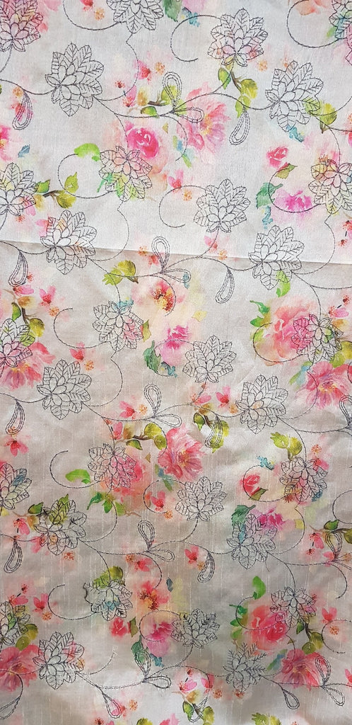 Embroidered Dupion Silk Fabric - F00120 - ALL MY WISH