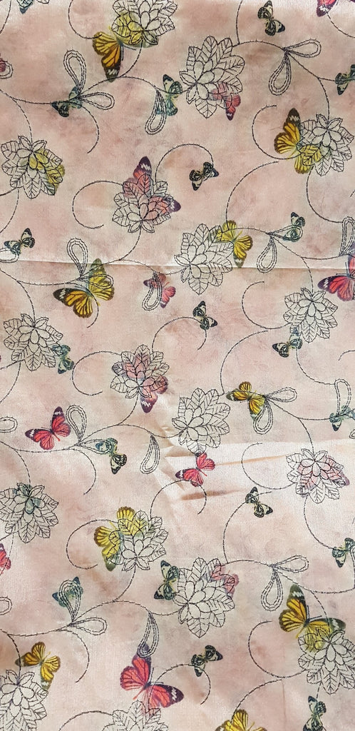 Embroidered Dupion Silk Fabric - F00122 - ALL MY WISH