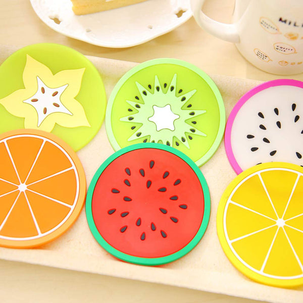 Silicone Coaster Fruit Design 5 Pc Set - H00045 - ALL MY WISH