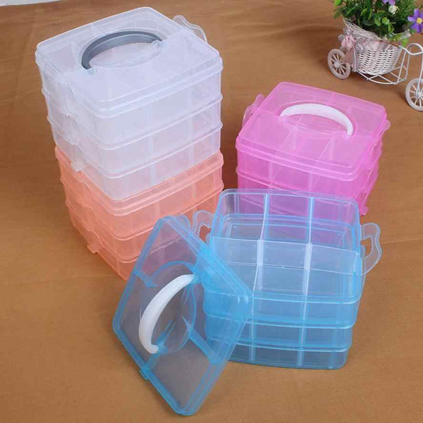 Small 3 Layer 18 Grid Plastic Transparent Jewelry Box - H00125 - ALL MY WISH