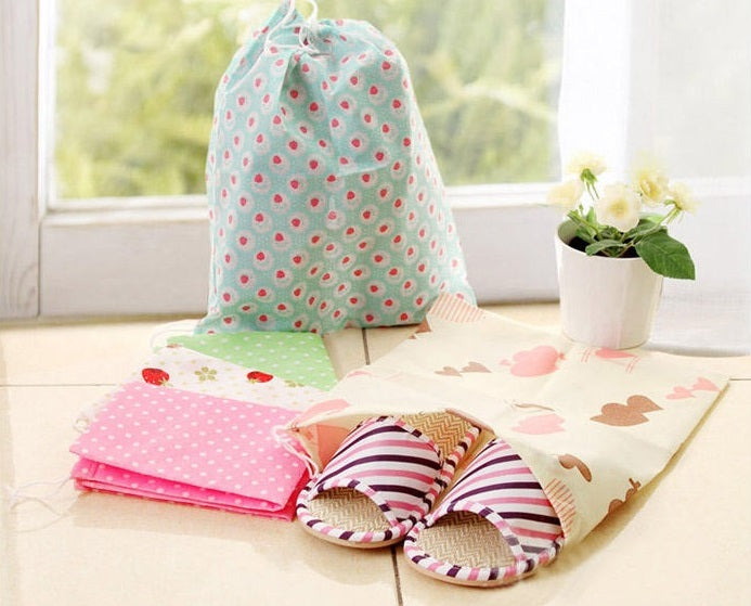 Set Of 2 Folding Printed Shoe Bag (Random Color) - H00155 - ALL MY WISH