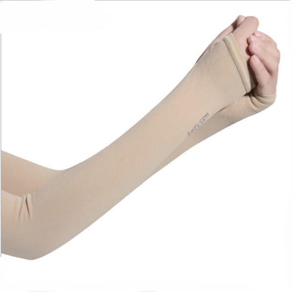Let's Slim Hand Cover Cool Arm Sleeves (Beige) - H00243 - ALL MY WISH