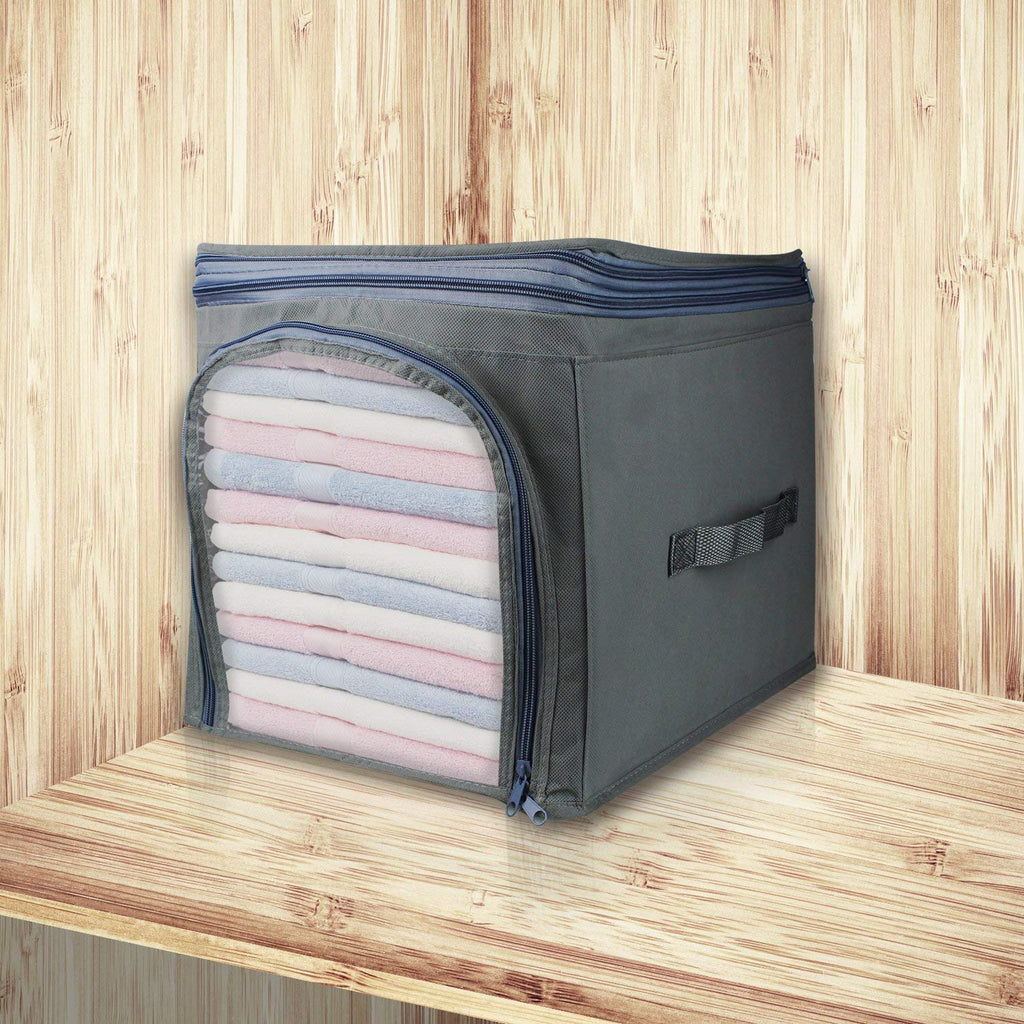 Foldable Clothes Storage Box (Grey) - H00252 - ALL MY WISH