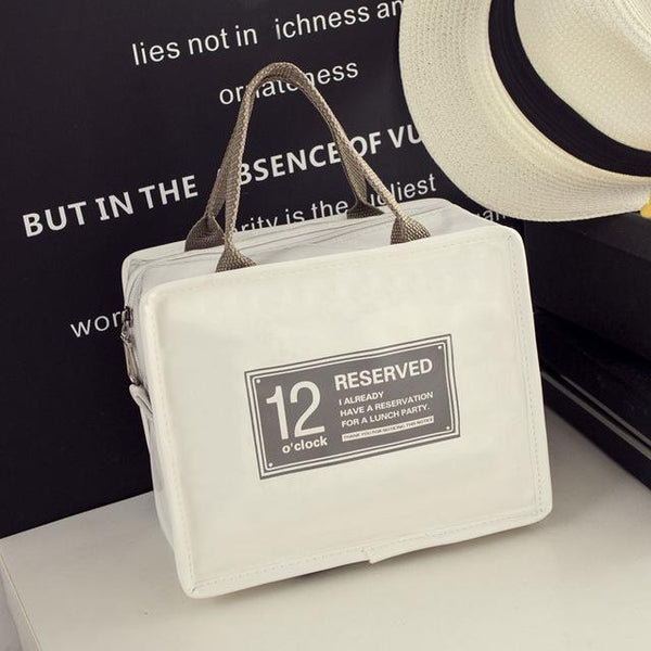 12o'clock Fashion Insulated Lunch Bag (White) - H00254 - ALL MY WISH