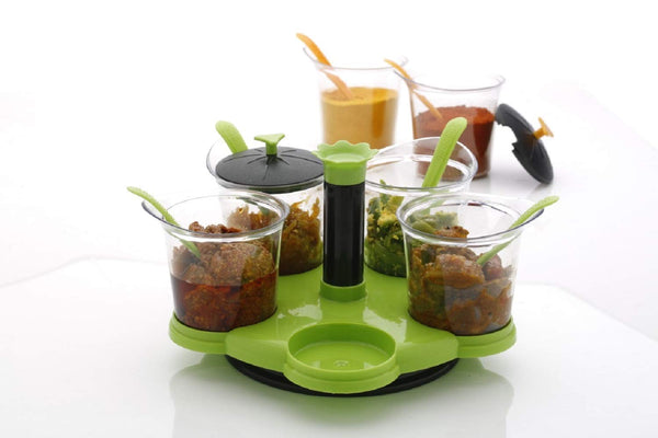 Multipurpose Revolving Plastic Spice Rack 05 Pc  Set - H00296 - ALL MY WISH