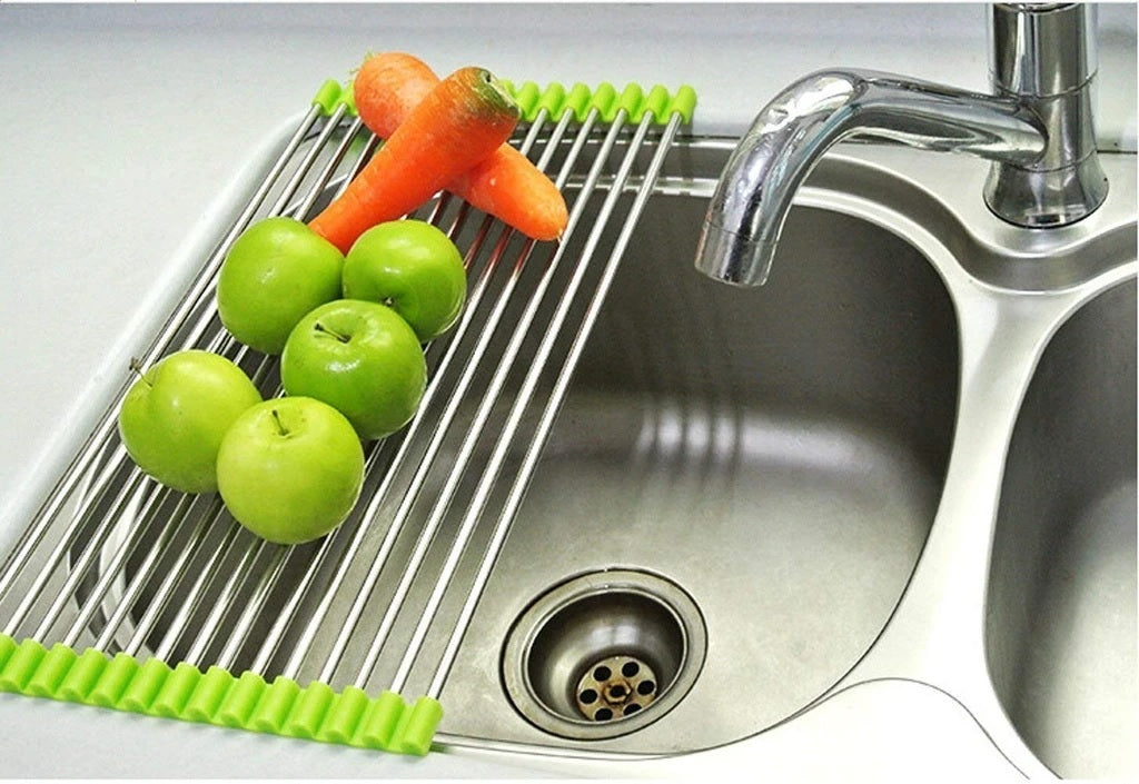 Stainless Steel Foldable Roll-Up Kitchen Sink Drying Rack - H00332 - ALL MY WISH