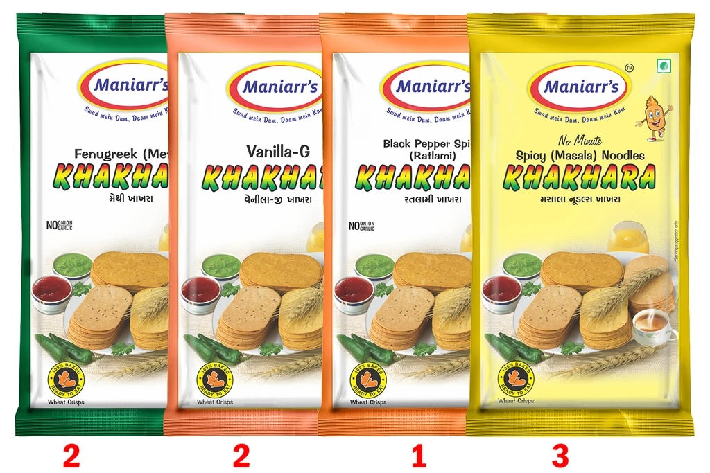 Khakhra with 4 Flavours (360 gm, Pack Of 8) - H00349 - ALL MY WISH