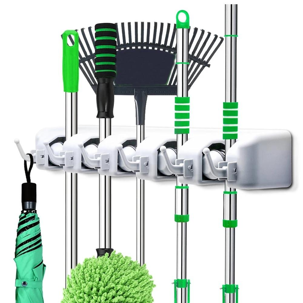 5 Slot Wall Mounted Organizer Mop And Broom Holder - H00356 - ALL MY WISH