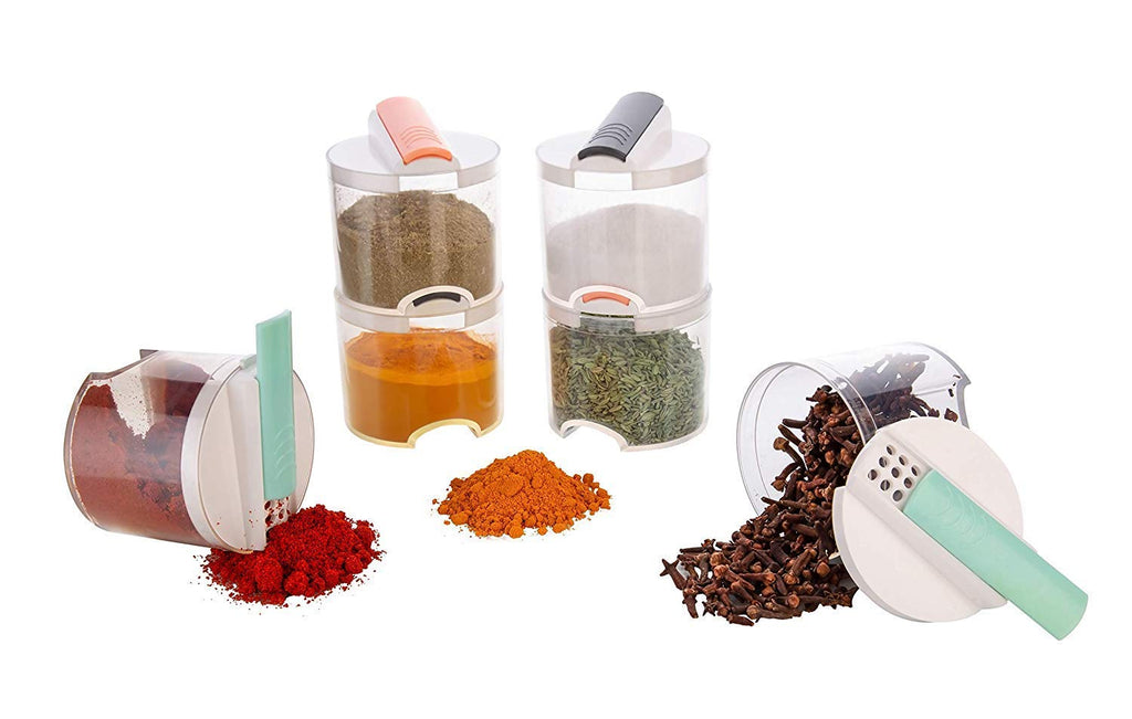 Plastic Spice Container 250 ml,Spice,Tea Coffee & Sugar Container (Pack of 6) - H00402 - ALL MY WISH