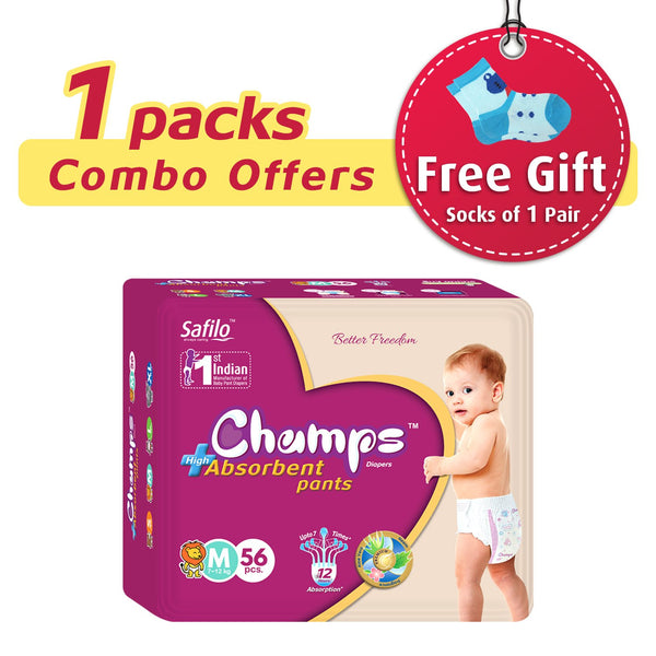 Premium Champs High Absorbent Pant Style Diaper Medium Size, 56 Pcs - H00436 - ALL MY WISH