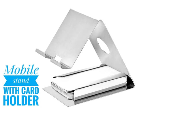 Mobile Phone Metal Stand With Card Holder - H00449 - ALL MY WISH