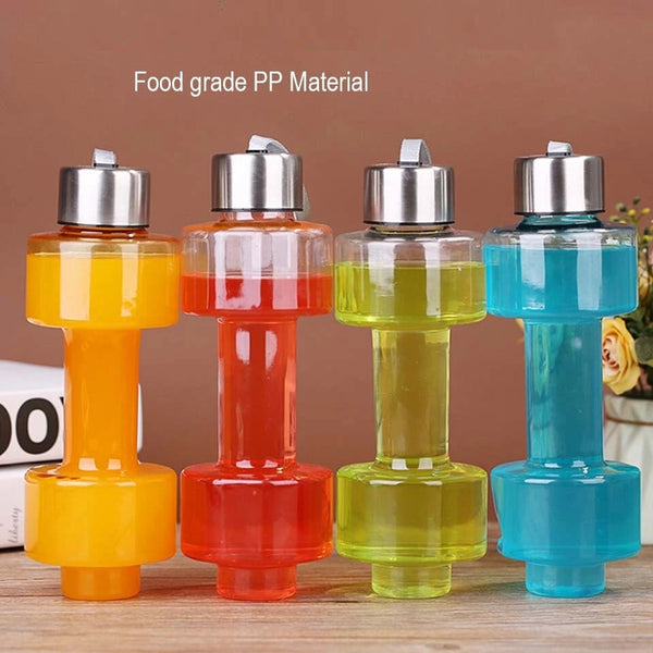 Steel Cap Plastic Dumbbells Water Bottle - H00483 - ALL MY WISH