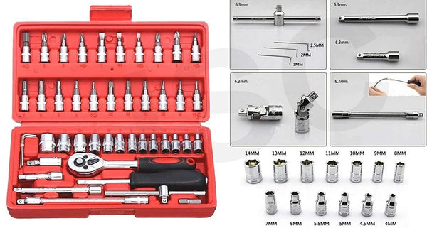 Socket 1/4 Inch Combination Repair Tool Kit (Red, 46 pcs) - H00604 - ALL MY WISH