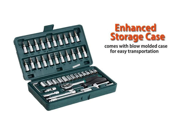"46 pcs Metal 1/4"" Socket Set (Black, 46pcs) - H00608 - ALL MY WISH"