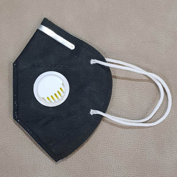 Black KN95 Mask With Breathing Valve - H00643 - ALL MY WISH