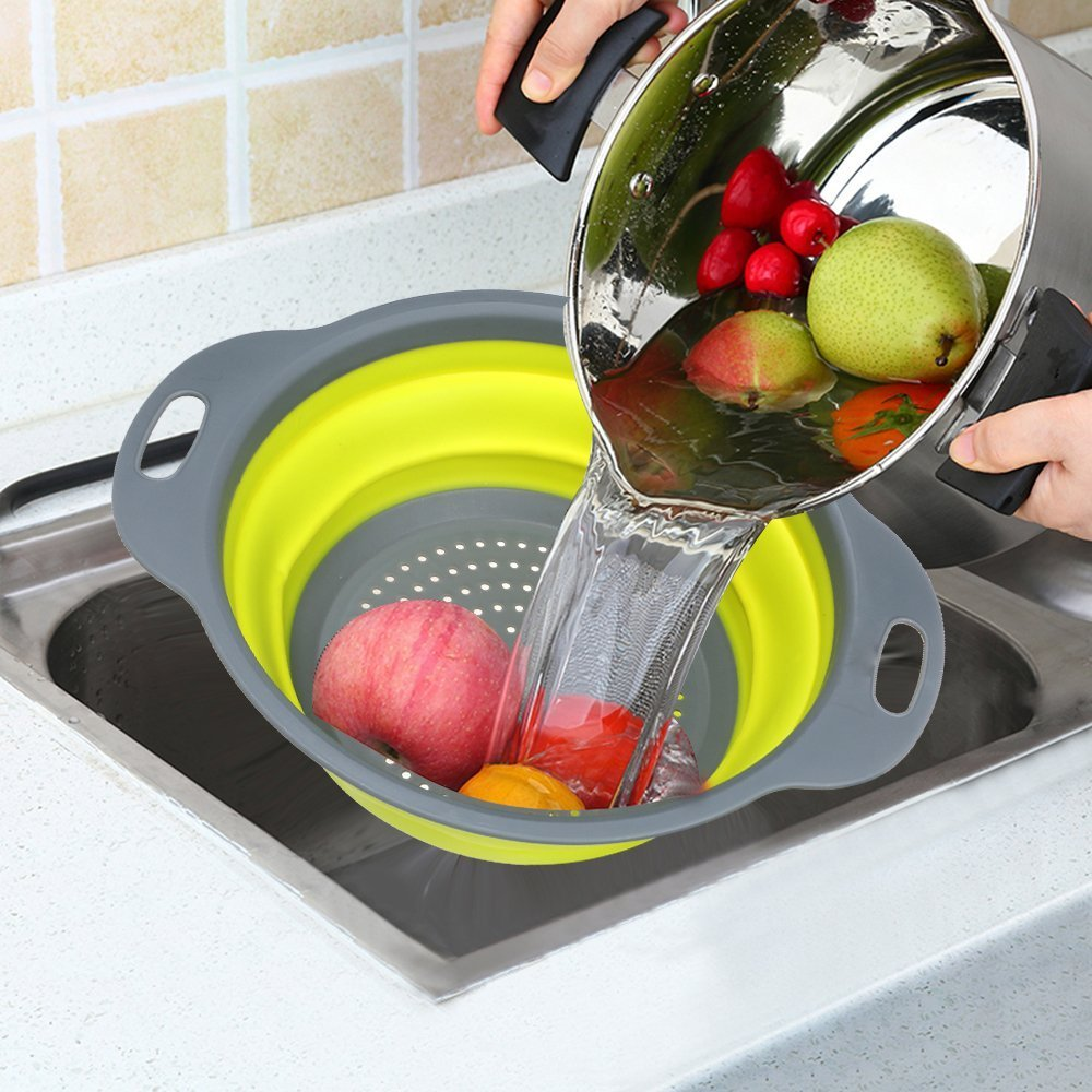 Silicone Collapsable Washing Foldable Strainer (Random Color) - H00653 - ALL MY WISH