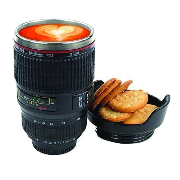 Camera Lens Shaped Coffee Mug Flask With Lid - H00685 - ALL MY WISH