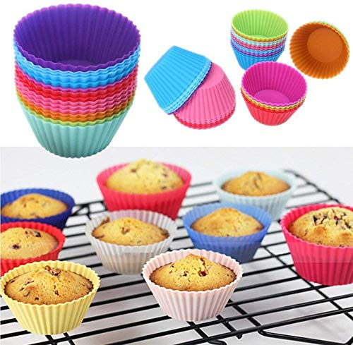 Round Shaped Silicone Cupcake Mould 12 Pcs - H00749 - ALL MY WISH