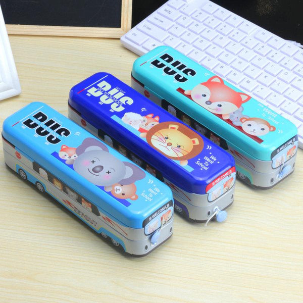 Bus Shaped Metal Pencil Box ( 1 Pc ) - H00756 - ALL MY WISH