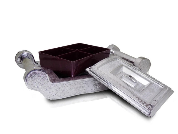 Multipurpose 4 Section Royal Design Silver Storage/Gift Box - H00794 - ALL MY WISH