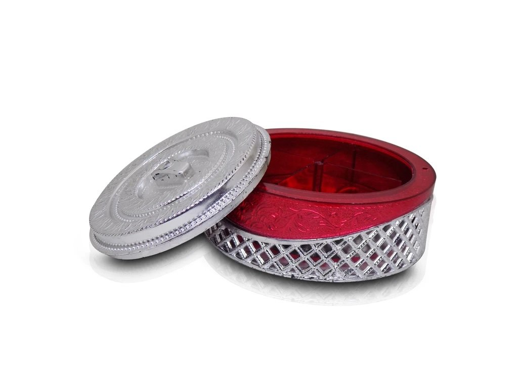 Multipurpose Royal Design Round Silver Storage/Gift Box - H00798 - ALL MY WISH