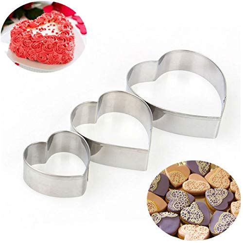 Heart Cake Ring Cutter for Cake,Tier Cake,fondat Cutter 3 pc Set - H00907