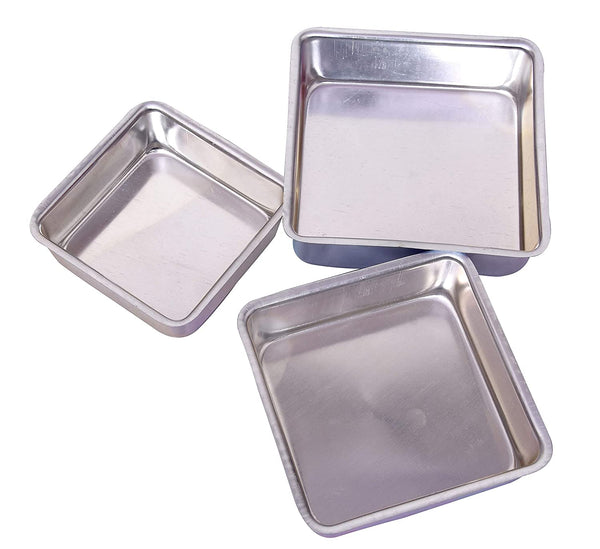 3 pcs Aluminium Square Cake Tin Mould Set - H00909