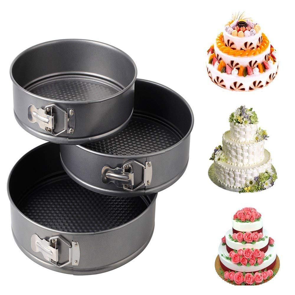 Spring Form Cake Mould Pan Set,Removable Cake Mould, 3 Pcs - H00912