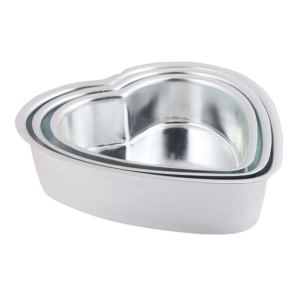 ALUMINIUM CAKE TIN – HEART SHAPE – SET OF 3 - H00921