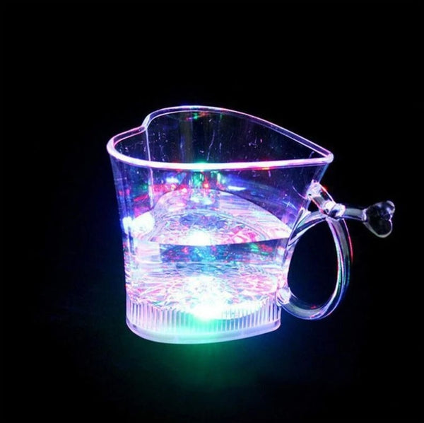 1 Pc - Heart Shape Activated Blinking Led Glass Cup - H01031