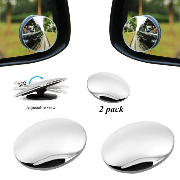 Blind Spot Round Wide Angle Adjustable Convex Rear View Mirror - Pack of 2 - H01045